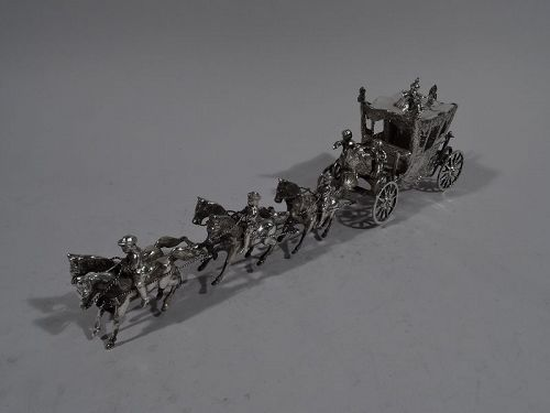 Antique German Rococo Silver Horse-Drawn Cinderella Coach