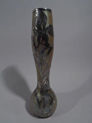Loetz Tall Art Nouveau Iridescent Glass Vase with Alvin Silver Overlay