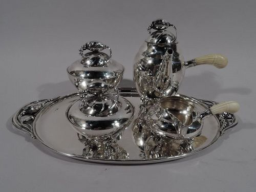 Early Georg Jensen Hand-Hammered Blossom Coffee Set on Tray