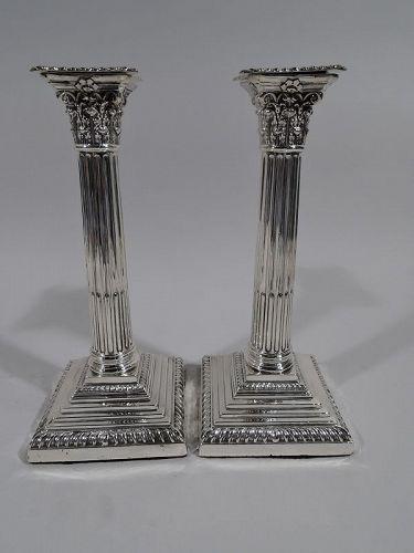 Pair of Antique English Edwardian Neoclassical Column Candlesticks