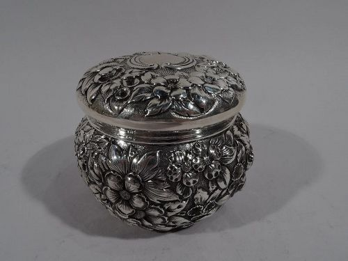 Antique Baltimore-Style Repousse Sterling Silver Trinket Box
