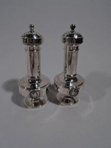 Pair of New York Sterling Silver Medallion Salt & Pepper Shakers
