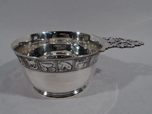 Large Edwardian Sterling Silver Nursery Rhyme Porringer by Gorham