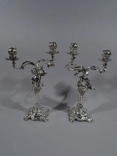 Pair of German Art Nouveau Rococo 2-Light Silver Candelabra