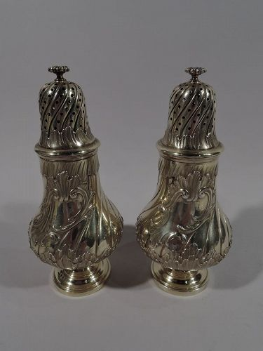 Pair of French Belle Epoque Silver Gilt Sugar Casters by Odiot