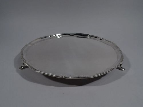 Antique English Neoclassical Sterling Silver Salver Tray 1930