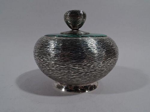Modern Handwrought Sterling Silver & Malachite Box by New York Maker