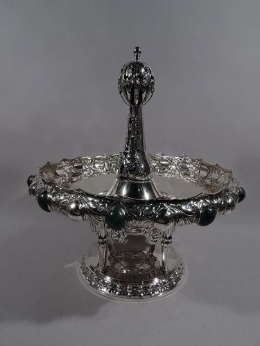 German Art Nouveau Silver & Malachite Showstopper Centerpiece