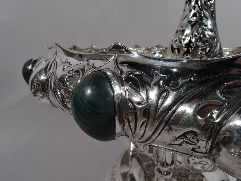 German Art Nouveau Silver & Malachite Showstopper Centerpiece