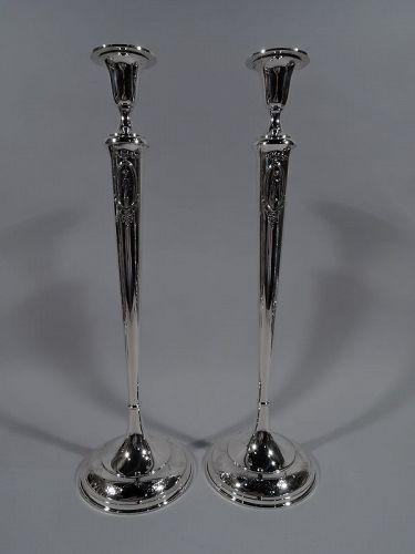 Very Tall American Edwardian Regency Sterling Silver Candlesticks