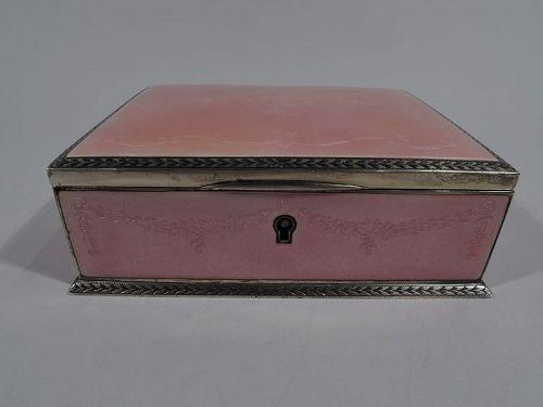 Antique Edwardian Regency Sterling Silver & Enamel Jewelry Box by Kerr