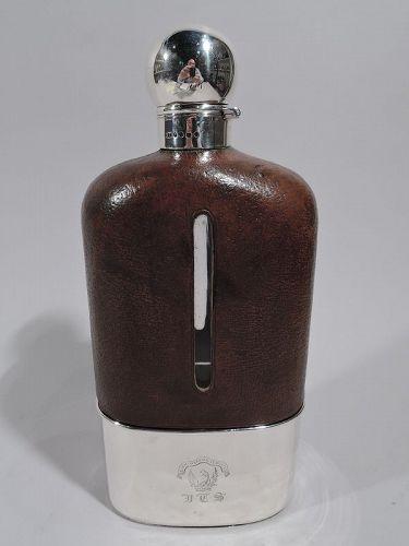 Jumbo Big Game-Era English Sterling Silver Safari Flask 1888