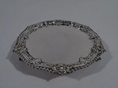 English Georgian Sterling Silver Salver by Ebenezer Coker 1767