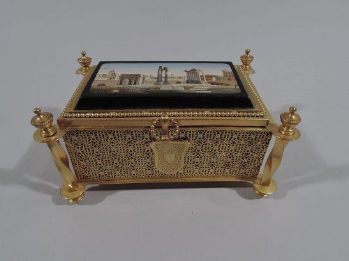 Antique Grand Tour Jewelry Casket with Roman Forum Micromosaic