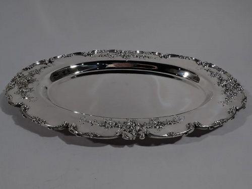 Antique American Art Nouveau Sterling Silver Serving Platter Tray