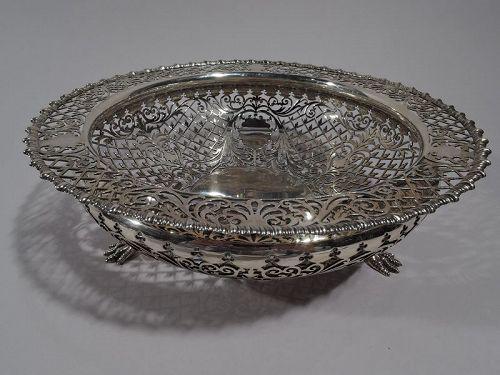Antique English Edwardian Pierced Sterling Silver Bowl by James Dixon