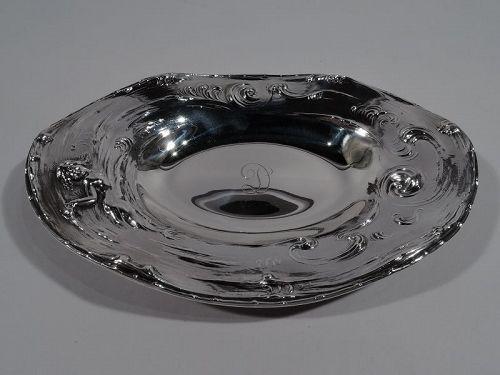 Antique American Art Nouveau Sterling Silver Lorelei Whirlpool Bowl