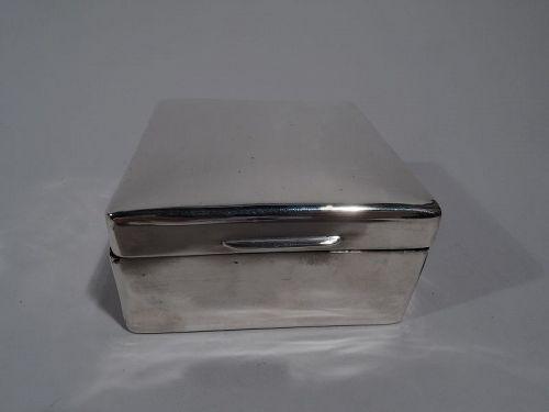 English Modern Small Square Sterling Silver Box 1925
