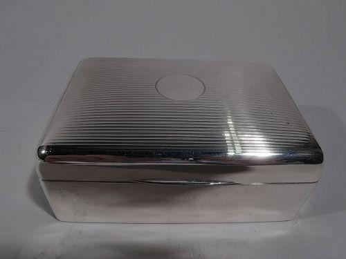 English Art Deco Sterling Silver Box 1920