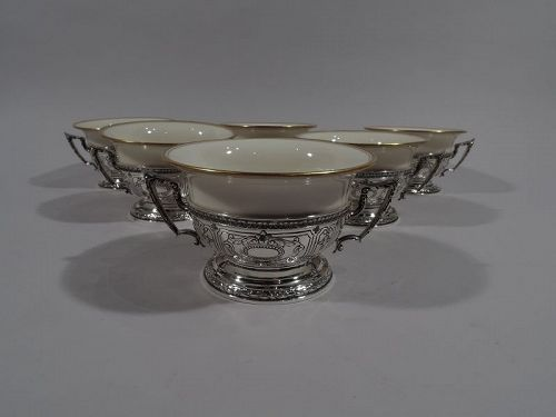 Gorham Maintenon Sterling Silver Holders with Lenox Bouillon Bowls