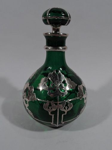 Large American Art Nouveau Green Glass Silver Overlay Perfume