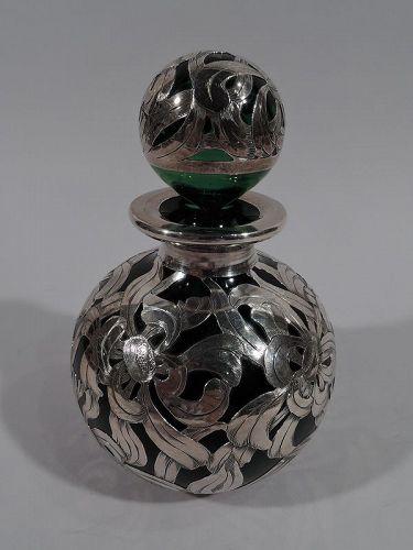Antique American Art Nouveau Green Glass Silver Overlay Perfume