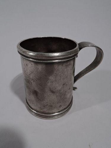 South American Heavy Silver Mug Early 19 C