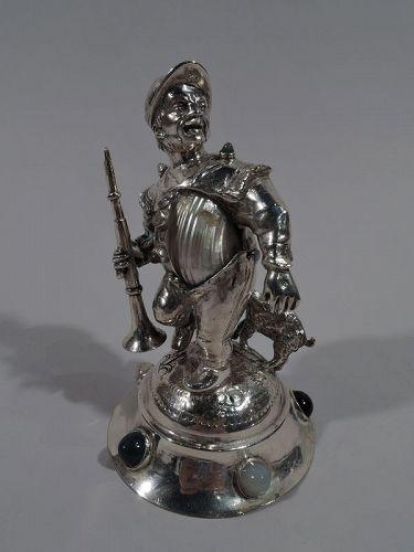 Antique German Silver Boy Shepherd Boy with Hardstones C 1890