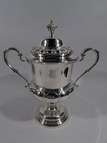 Large Antique English Sterling Silver Classical Covered Trophy Cup