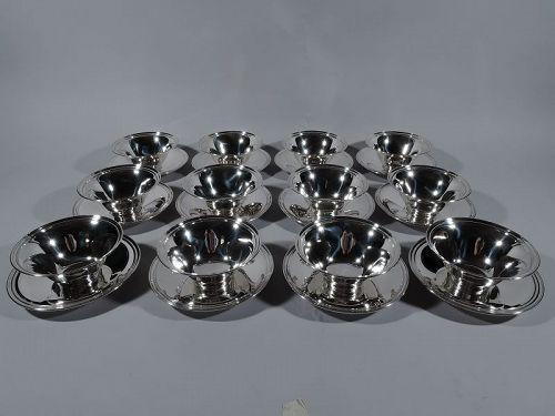 12 Tiffany American Modern Sterling Silver Dessert Bowls & Plates