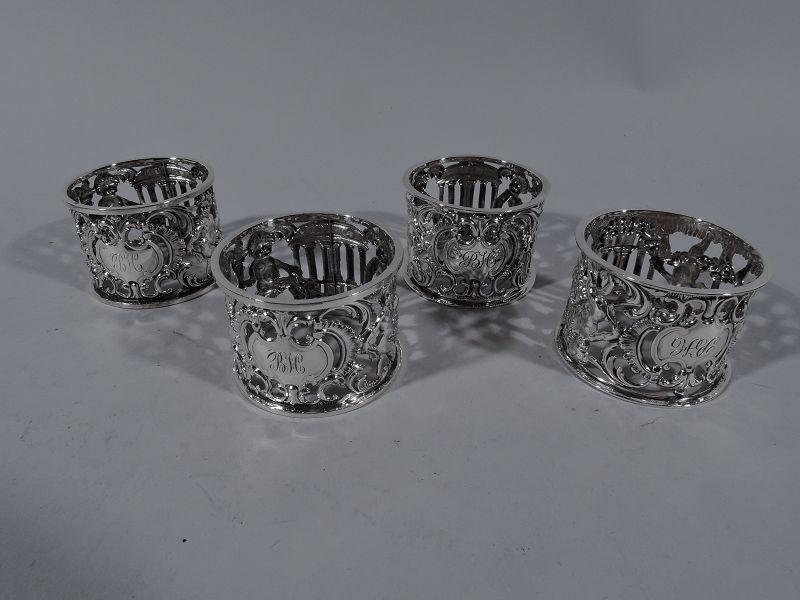 Set of 4 Antique English Edwardian Sterling Silver Cherub Napkin Rings