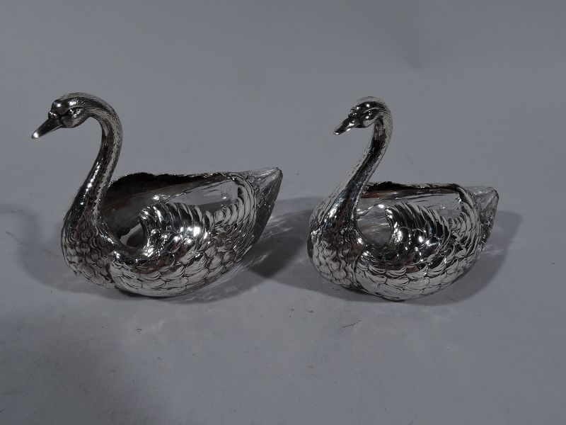 Pair of Antique American Sterling Silver and Glass Swan Bird Bowls
