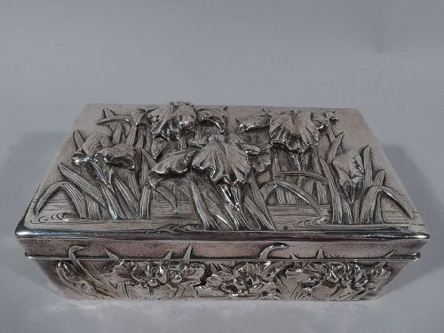 Fine Japanese Hand-Hammered Silver Box with Irises