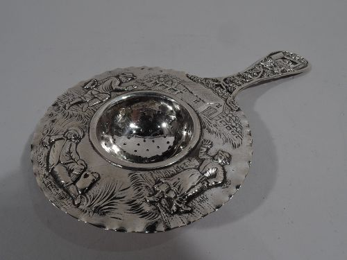 Antique German Silver Tea Strainer with Smoking, Toping Rustics