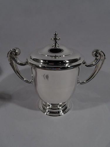 Elegant English Edwardian Sterling Silver Classical Covered Urn 1913