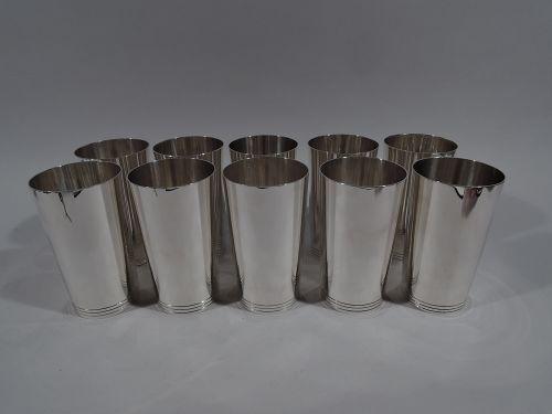 Set of 10 Tiffany Fabulous Modern Sterling Silver Highballs