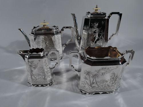 English Japonesque Sterling Silver 4-Piece Coffee & Tea Set 1890