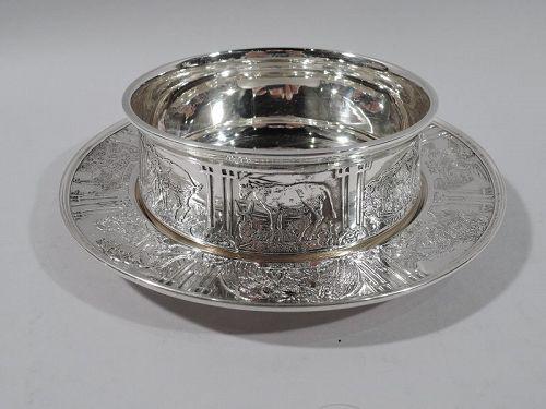 Kerr Edwardian Sterling Silver Sweet Beast Baby Bowl & Plate