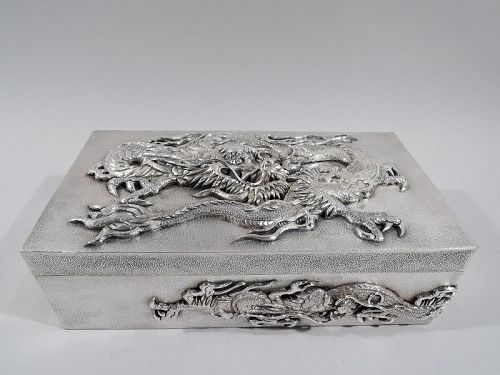 Very Heavy Japanese Silver Dramatic Dragon Box by Samurai Shokai