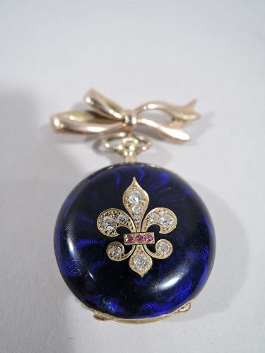 Delightful French Fleur de Lis 18K Gold, Diamond & Blue Enamel Watch