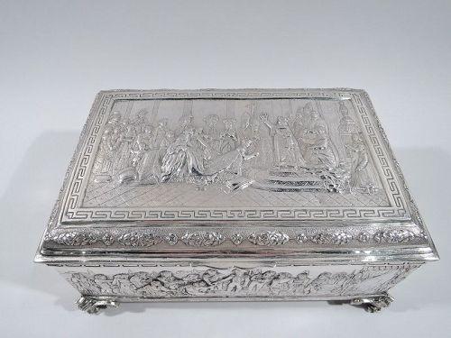 Antique German Silver Casket Box with Scenes of Napoleon�s Life C 1900