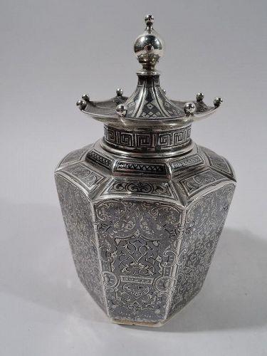 Antique Tiffany Russian Silver & Niello Pagoda Tea Caddy C 1894