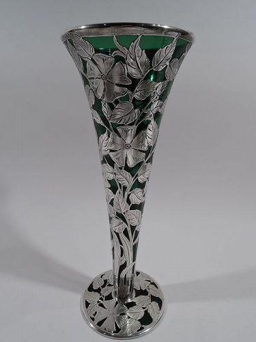 Alvin American Art Nouveau Green Silver Overlay Vase