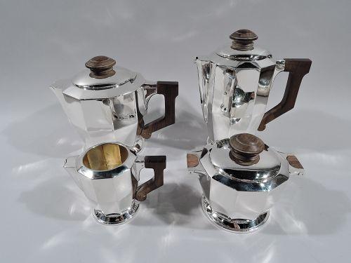 French Art Deco Silver 4-Piece Coffee & Tea Set C 1930
