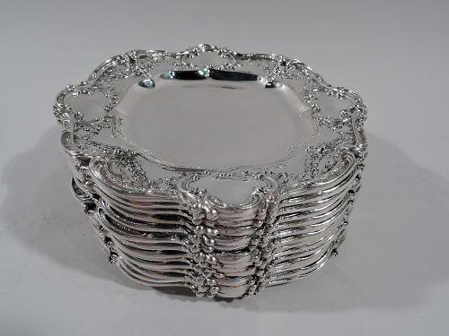 Fourteen Gorham Edwardian Rococo Sterling Silver Bread & Butter Plates