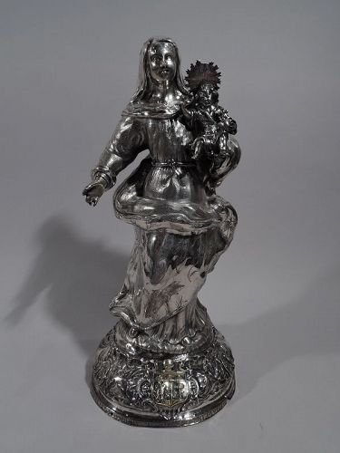 Antique Spanish Silver Figure of Virgin Mary and Child 18 C