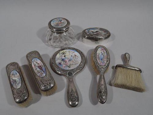 Antique Gorham Sterling Silver & Enamel Classical Goddess Vanity Set