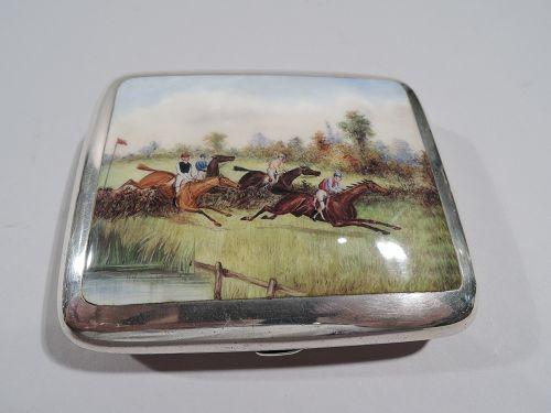 Antique English Sterling Silver & Enamel Horse Steeplechase Case