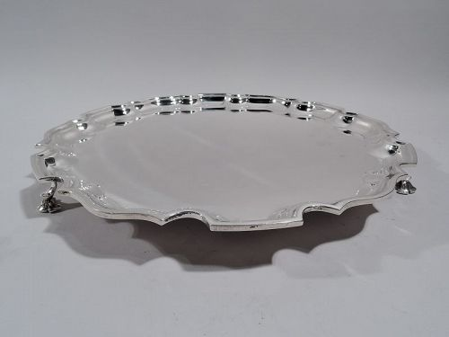 Tiffany Traditional Georgian Piecrust Sterling Silver Salver Tray