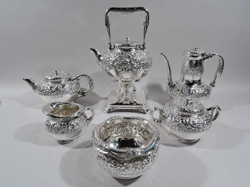 Antique Tiffany Repousse Sterling Silver Coffee & Tea Set C 1881